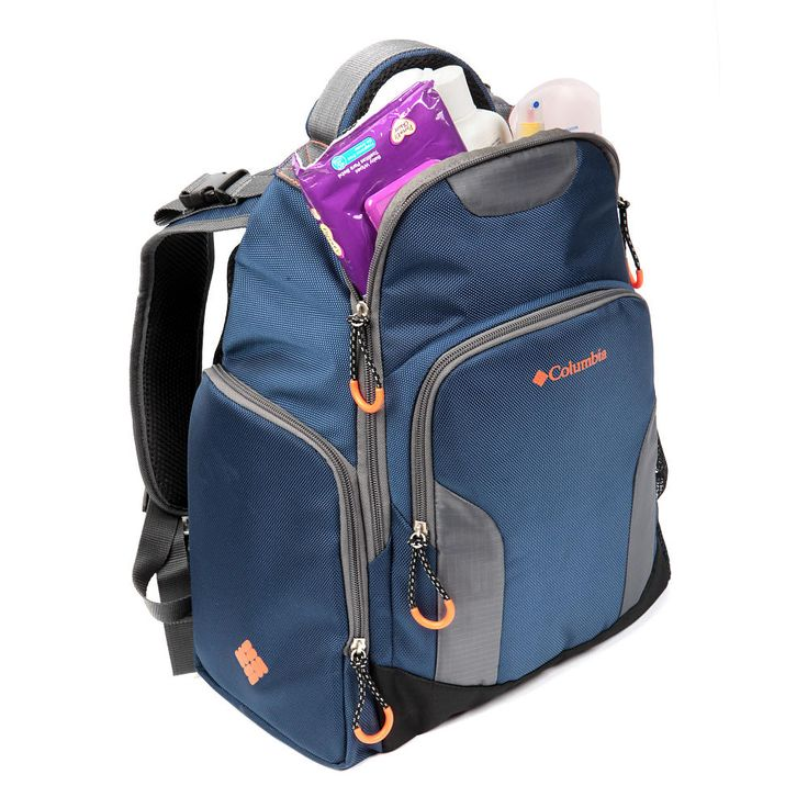 Columbia Summit Rush backpack diaper bag in collegiate navy is a roomy, lightweight unisex style suitable for mom or dad. This item features a large main compartment which has 3 elasticized pockets and 1 zipper pocket. The side exterior bottle compartment is easily accessible and has high density insulation with a Therma-Flect radiant barrier to help keep milk fresh. There is also a large exterior front zipper pocket and side elasticized mesh pocket. Including a portable, padded change…