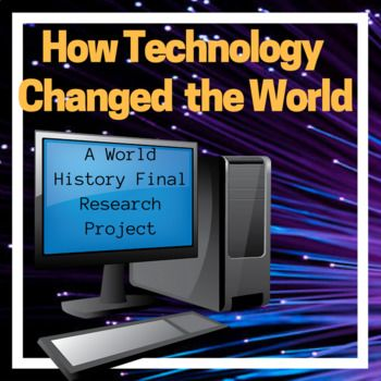 I created this as an alternative final research project for World History. This project will work for any World History Class, Middle School or High School. Students will research one technology or invention for each unit studied and analyze the effect it had on history.