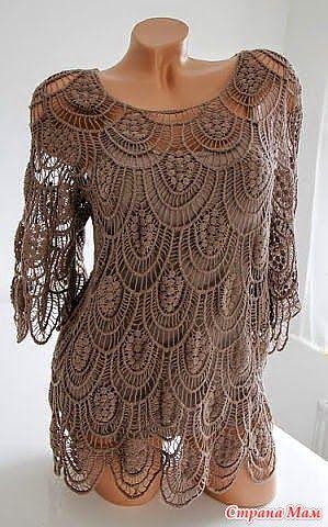 crochelinhasagulhas: Vestido bege de crochê