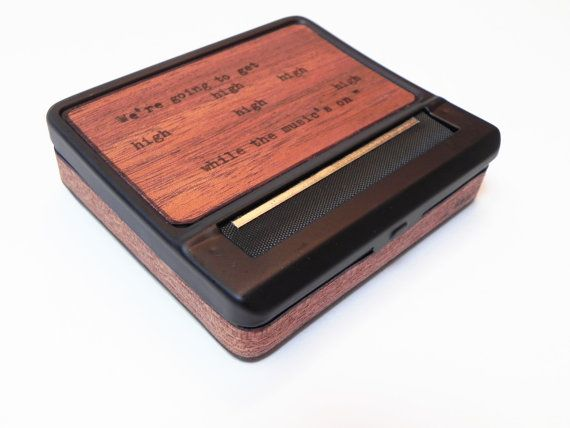 Black Cigarette Case : Brooklyn Made Wood Poetry - rolling machine roller smoker gift cigarette machine roll herbal cigarette roll by ResoluteStar
