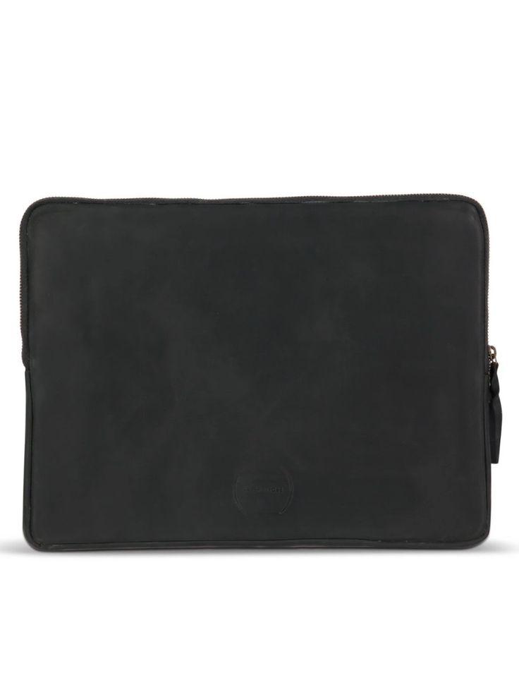 15″ Laptop Case: Black Suede + Blue Shuka