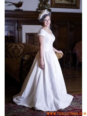 bescheiden prinses korte mouwen taft trouwjurk