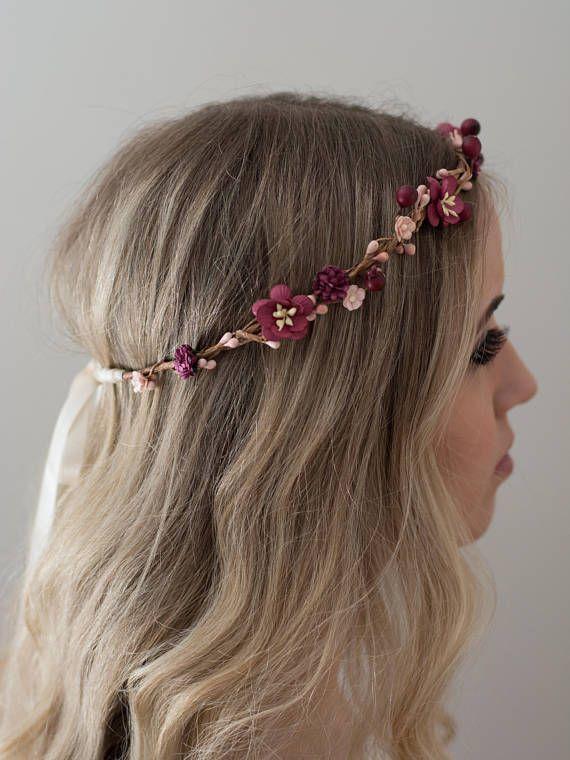 Burgundy Flower Crown- Merlot Wedding Crown- Wine Bridesmaid- Fall Wedding Headp…