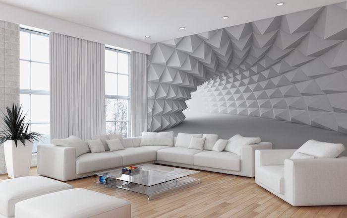White 3d Tunnel Wallpaper Accent Wall White Corner Sofa Armchair