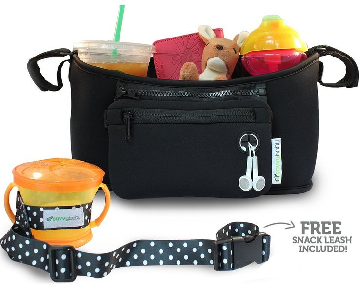 Stroller Organizer - Black - FREE Snack Cup Holder - SavvyBaby Universal Fit Stroller Parent Console, Stroller Organizer Bag - Best Jogging Stroller Accessories, Baby Shower Gift