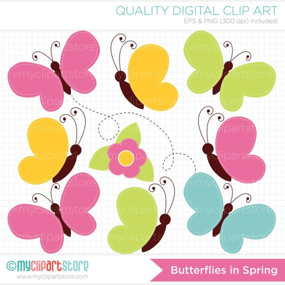 Butterflies in Spring Clip Art / Digital Clipart - Instant Download