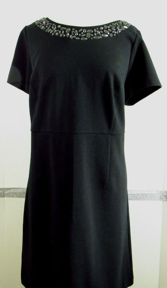 NEW Talbots Womens Petites Dress 16wp Black Cotton Blend Jeweled Neckline Knee L #Talbots #LittleblackDress #Festive