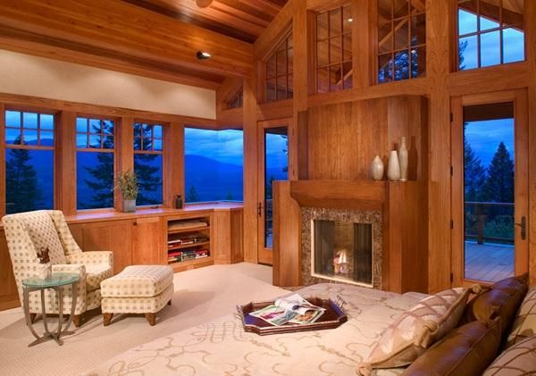 Country Bedrooms: Design Elements & Ideas - Inviting Fireplaces on HomePortfolio wooden winter retreat