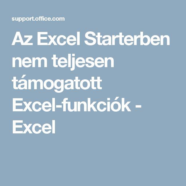 Az Excel Starterben nem teljesen támogatott Excel-funkciók - Excel
