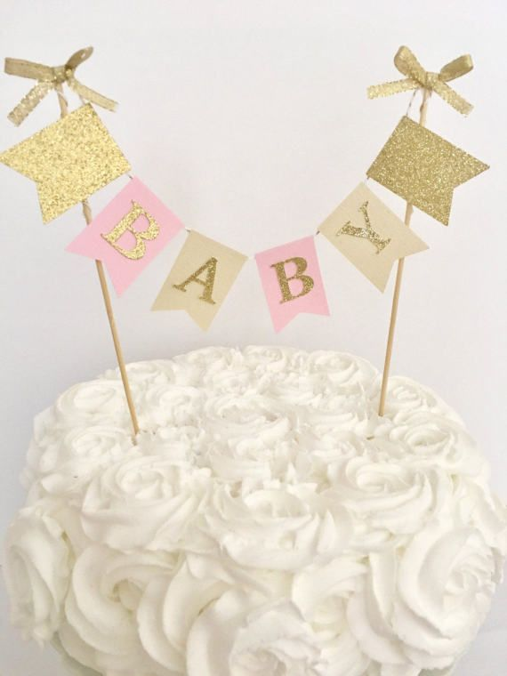 Baby Shower Cake Topper~ Pink And Gold Baby Shower~ Customized Name Topper  ~ Baby