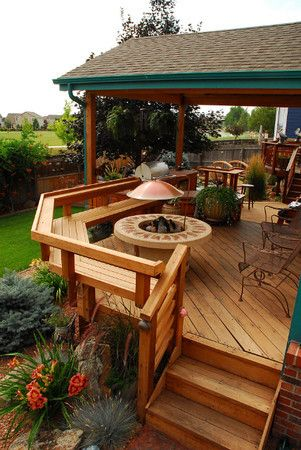 Redwood deck with built-in seating and fire pit. Designed by @DeckTec Outdoor Design Outdoor Design.