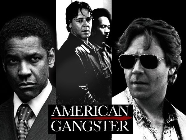 """Denzel Washington (Frank Lucas) / Russell Crowe  ( detective Richie Roberts)  """"American Gangster"""" (Ridley Scott, 2007)   About Frank Lucas (born September 9, 1930) a former U.S. heroin dealer and organized crime boss who operated in Harlem during the late 1960s and early 1970s."""