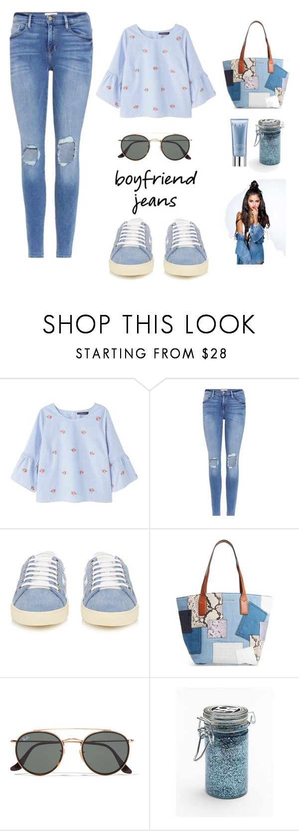 """Boyfriend Jeans"" by putrinaini on Polyvore featuring MANGO, Frame, Yves Saint Laurent, Marc Jacobs, Ray-Ban, Major Moonshine and Orlane"