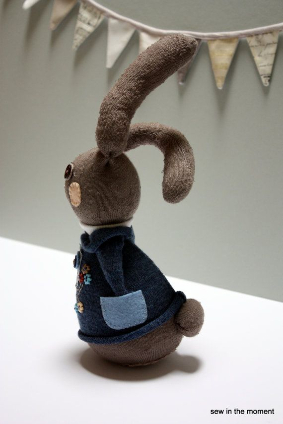 Easter bunny with Owl on an upcycled Theodore and Scanlan sweater now on sale at Etsy at Sewinthemoment