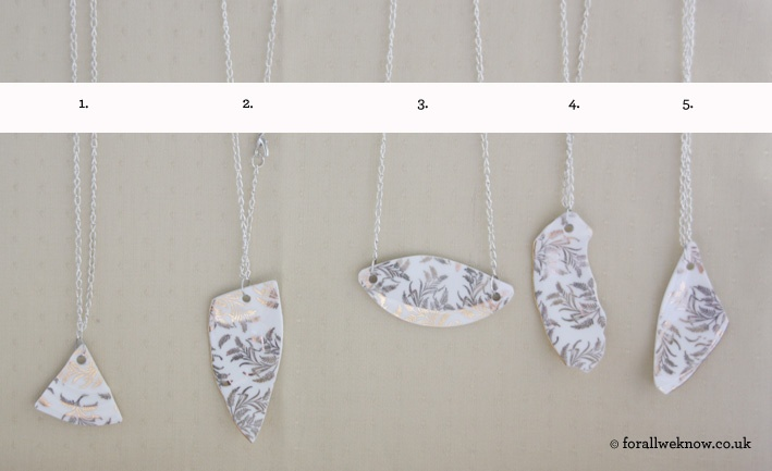 Upcycled Bone China Necklaces - £12 each.  contact@forallweknow.co.uk
