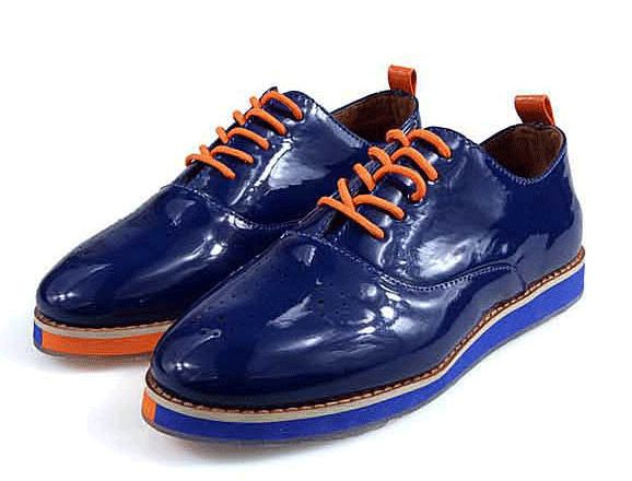GrabMyLook Patent Leather Punk Lace Up Shinny Blue Oxford Mens Shoes Loafers