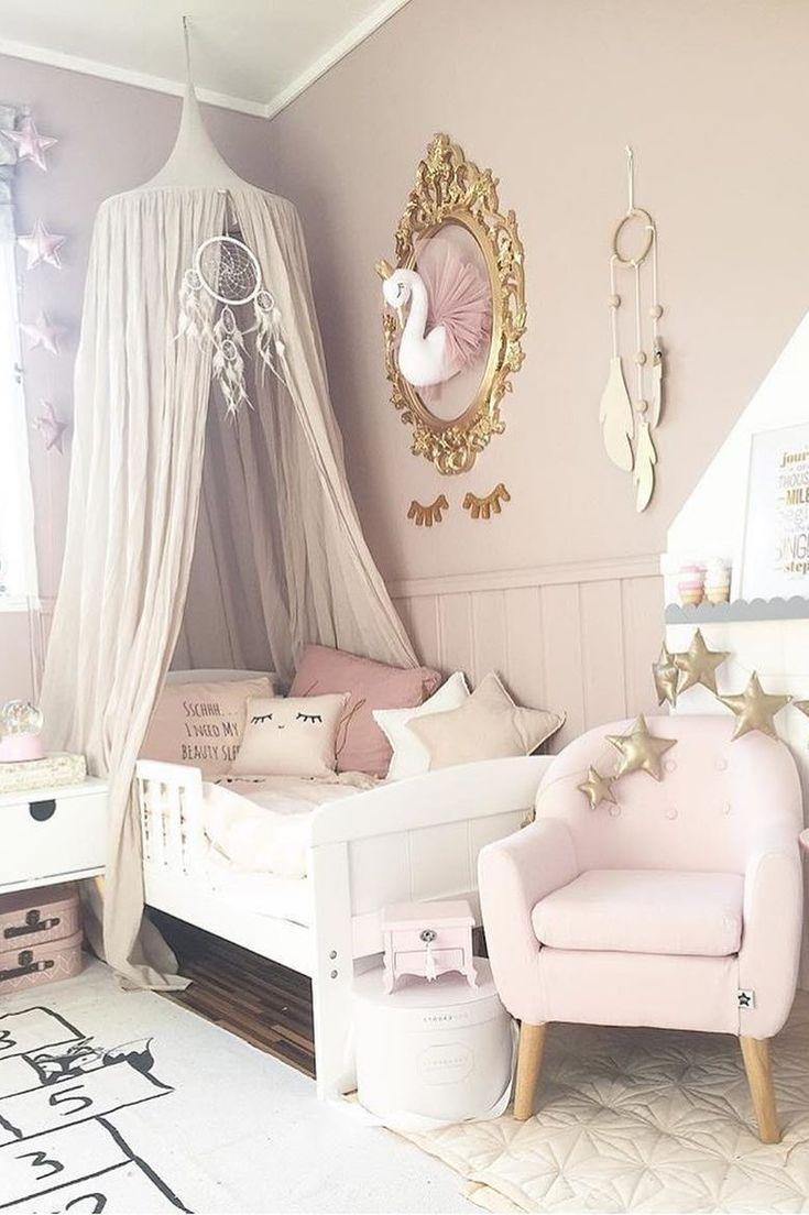 Inspiration von Instagram – Therese Sunngren.lien – Pastellmädchen-Raumideen, rosa und graues Mädchenzimmerdesign, Kinderzimmerdekor, Mädchenkinderzimmer, Puder