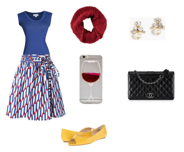 """""""Red White Blue and Yellow"""" by foster-whitney-a on Polyvore featuring Velvet by Graham & Spencer, Marc Jacobs, Nine West, J.Crew, Express, Chanel, ootd, marcjacobs, pearl and pearlearrings"""