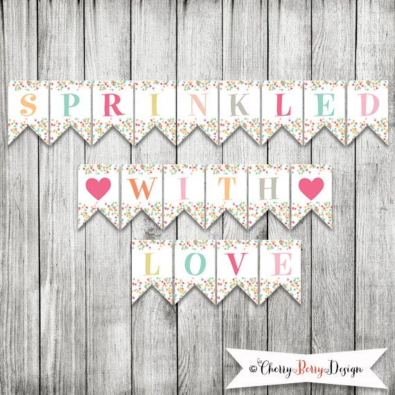 Sprinkled With Love Party Banner INSTANT by CherryBerryDesign