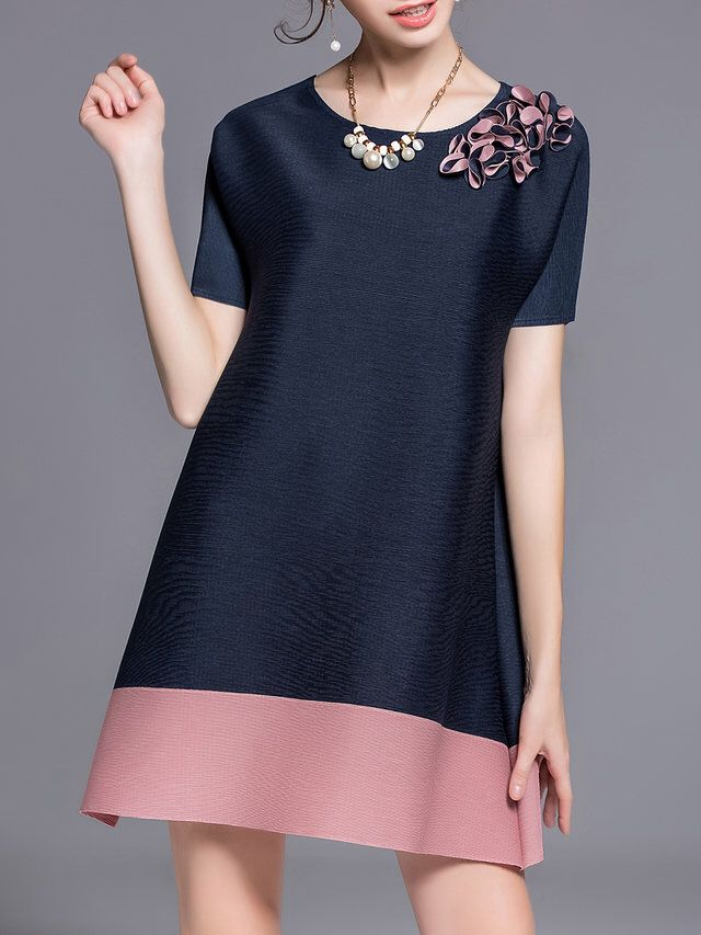 Dark Blue A-line Casual Polyester Crew Neck Tunic