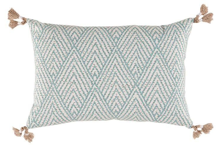 Throw pillow, decorative throw pillow, accent pillow, sofa pillow, décor pillow, lacefield designs pillow, Blue Corner Tassel Chevron Pillow, lumbar pillow