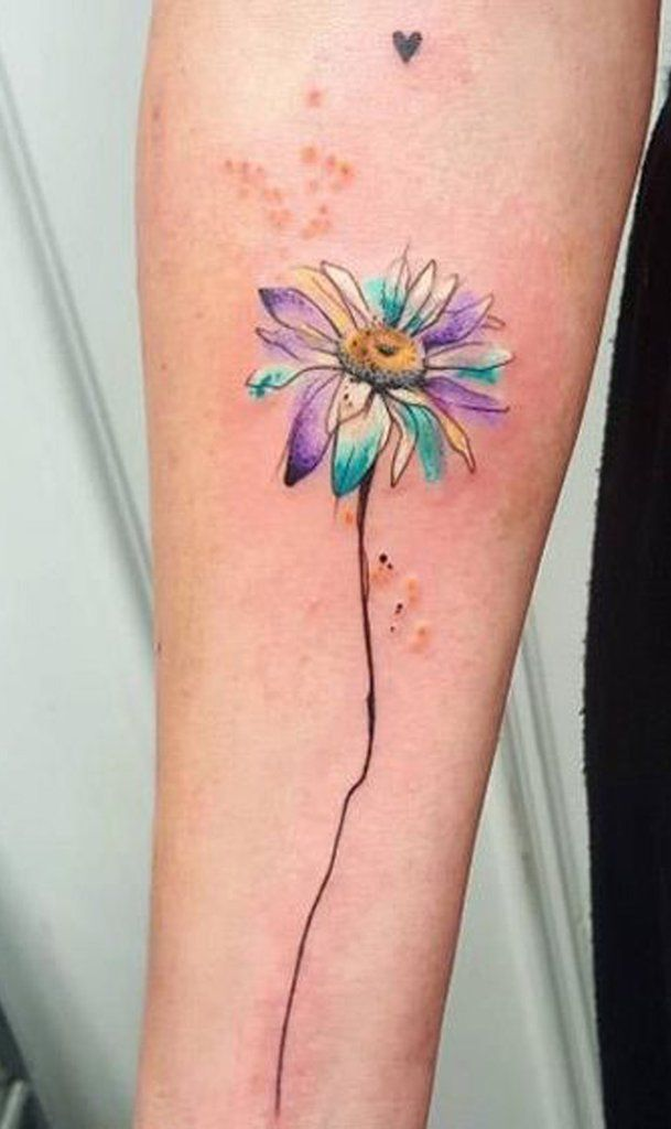 30 Delicate Flower Tattoo Ideas Daisy Flower Tattoos Watercolor