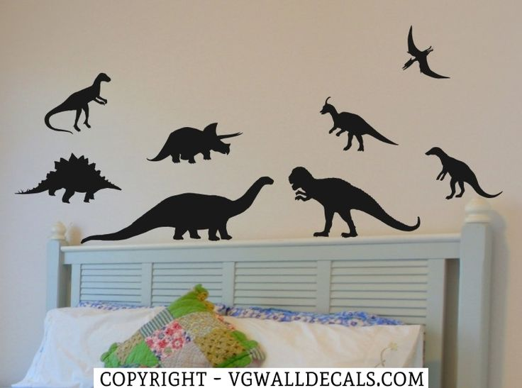 Dinosaur Wall Decals - set of 8 Childrens bedroom wall decor.