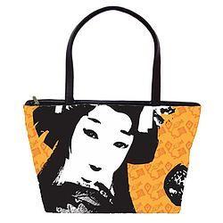 Leather Tote - Geisha with Kites