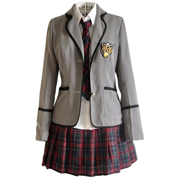 Japan School Uniform girls Dress Cosplay Costume Anime long sleeve... (£32) ❤ liked on Polyvore featuring cosplay