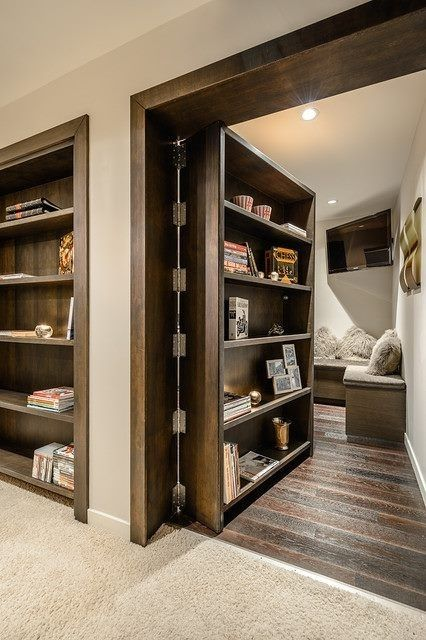 Create a secret room, simple as adding a bookcase to the door | 31 Insanely Clever Remodeling Ideas For Your New Home - storm shelter or pantry in the basement?