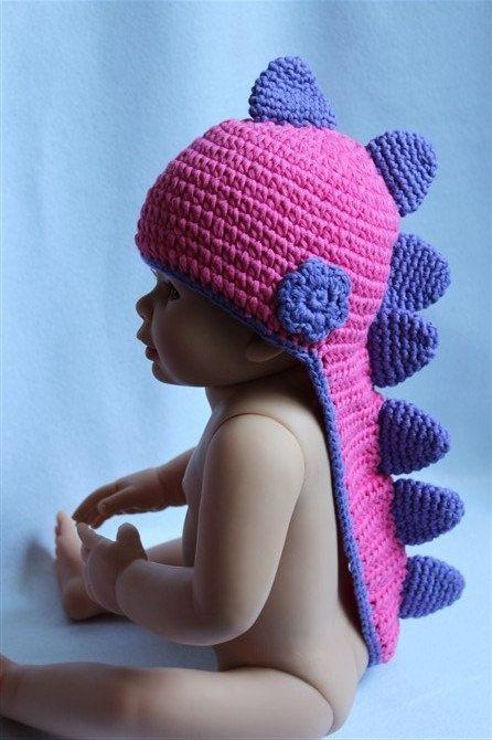 Cute Gorgeous Baby Child Hot-pink/Purple Dinosaur Hat Crochet Cotton Hat Beanie Newborn To 3Year Handmade Free Shipping. $14.99, via Etsy.