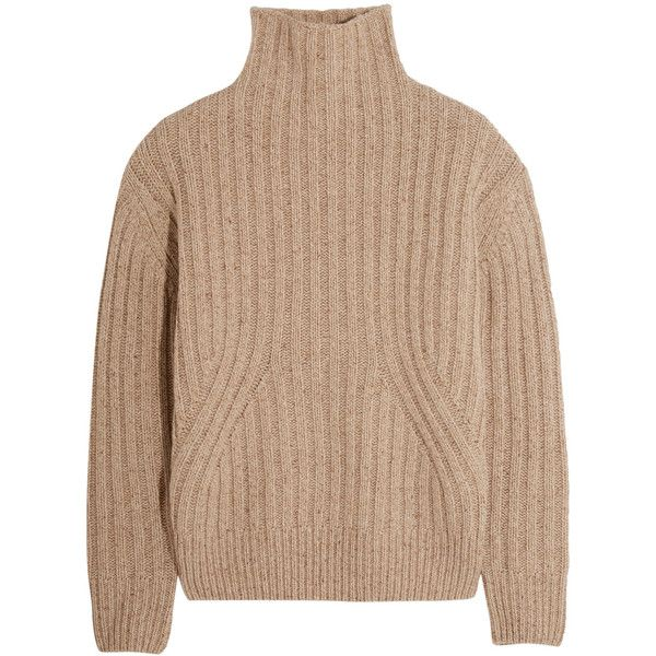 Totême Verbier ribbed wool-blend turtleneck sweater found on Polyvore featuring tops, sweaters, beige, chunky sweater, ribbed turtleneck, turtle neck sweater, polo neck sweater and chunky turtleneck sweaters