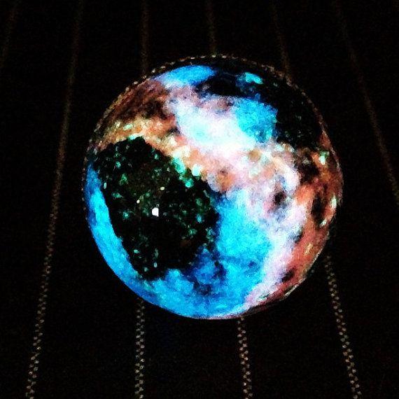 Steampunk Geekgirl Glow In The Dark Galaxy Star Nebula Glass Dome Ring by GeekFreakBoutique, $24.50