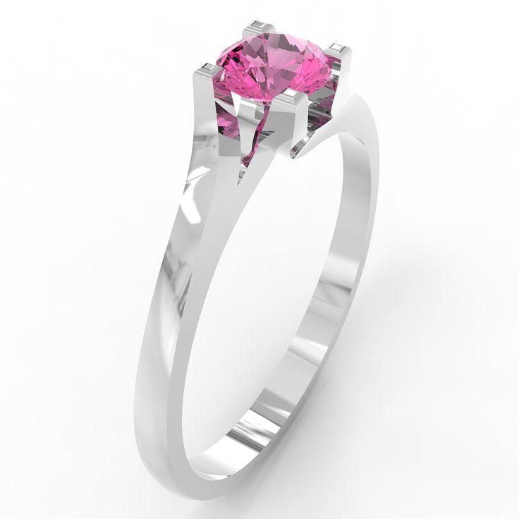 Inel cu diamant Vivian's perfect twist Topaz roz