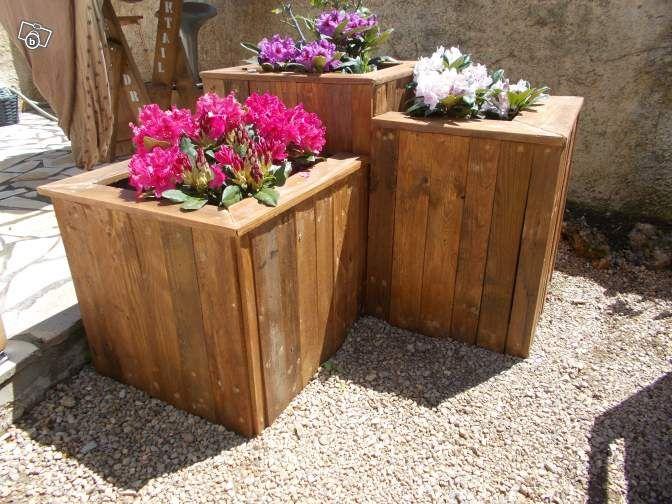 Jardini re tage meubles en bois de palette r cup - Jardiniere haute en bois ...