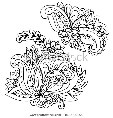 Outline elements for coloring book. Decorative ornament. Anti-stress therapy pattern. Weave design element. Yoga logo, background for meditation poster. Unusual flower shape. Oriental vector.