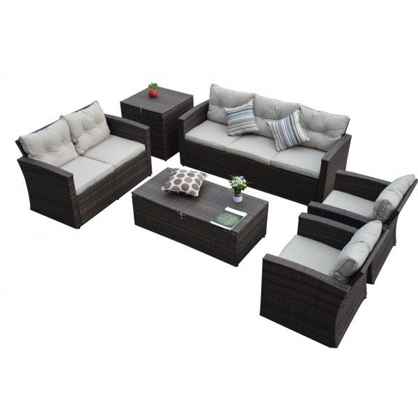 The HOM Rio 6 Piece Wicker Conversation Set   Person   Wicker Patio Sets    Wicker Seating