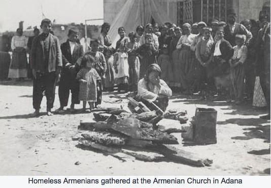 Homeless Armenians gathered at the Armenian church in Adana