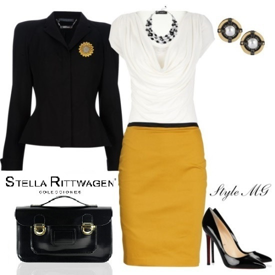 Elegant outfit with Satchel Stella in black