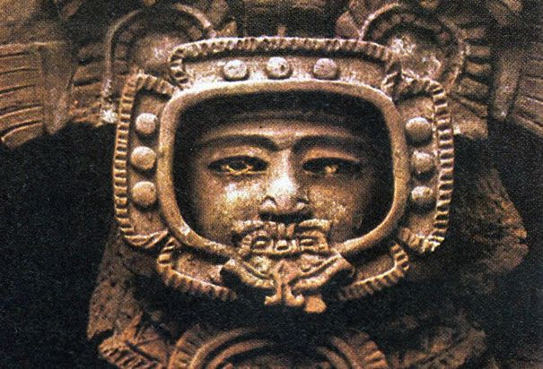 This ancient stone figure, found at the Mayan ruins in Tikal, Guatemala, resembles a modern-day astronaut in a space helmet.