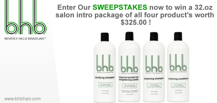 Register now to win a 32.oz salon intro package of all four product's worth $325.00 !  https://www.BHBHAIR.com/sweepstake