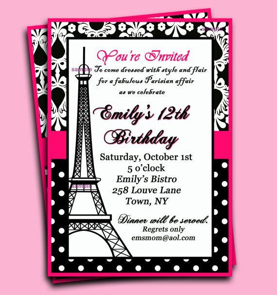 Paris Invitation Printable  Parisian Chic by ThatPartyChick, $15.00