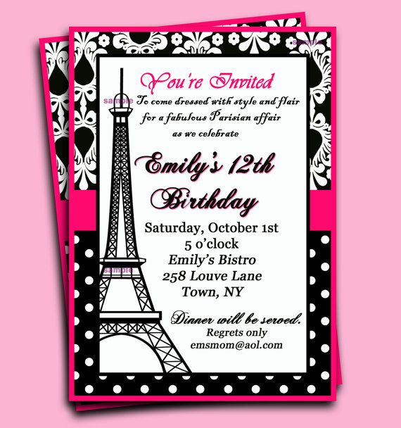 Paris Invitation Printable  Parisian Chic by ThatPartyChick, $15.00