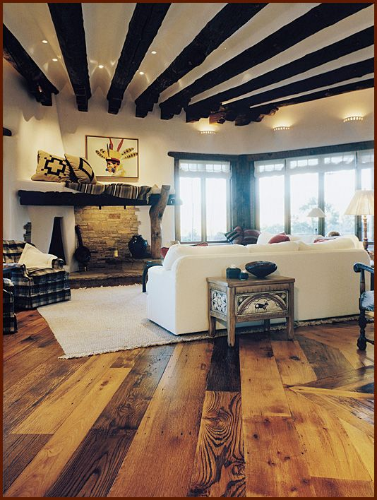 Adobe home, Santa Fe, NM, Living room - Antique Distressed Oak flooring,  to Love the floors and design of house but not crazy about the decor.