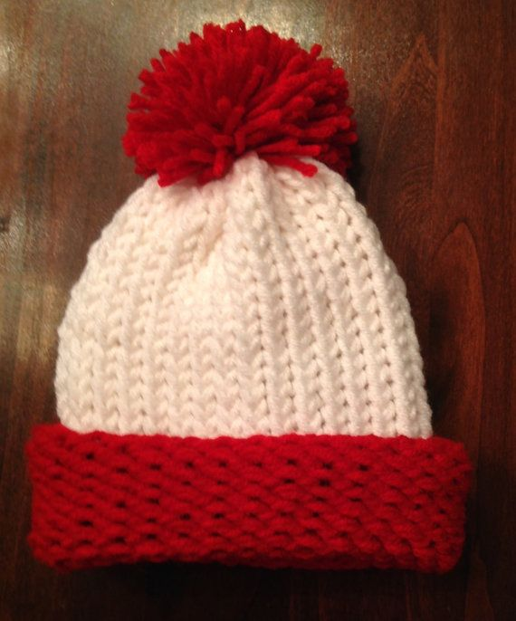Where's Waldo Hat Red and White Hat with Red Pom Pom by JilleBeansCreations on Etsy