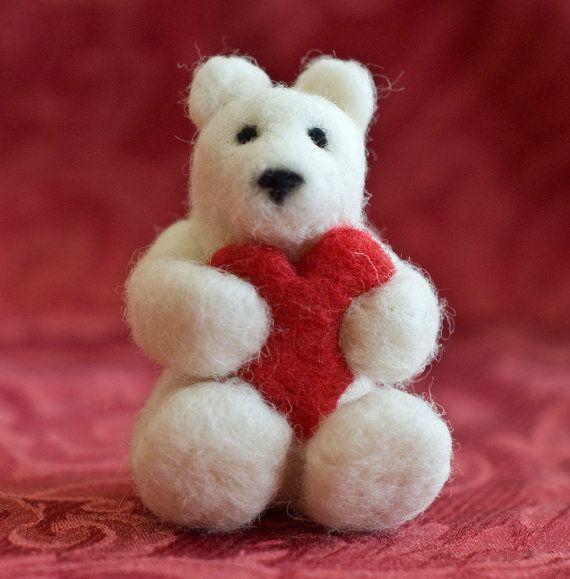 Needle Felted Bear with Heart. $26.00, via Etsy.