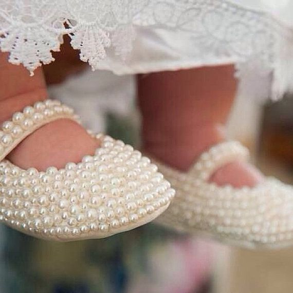 White Peral Ballet Shoes, Swarovski Crystal Baby Shoes,Baby Wedding Shoes, Baby, Christening Shoes, Pearls shoes,New born shoes, Girls Shoes...: