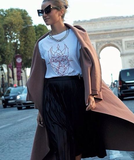 "sophietta wearing Mangano skirt ""Thirtyone"" during paris fashion week, available on our Shop online."