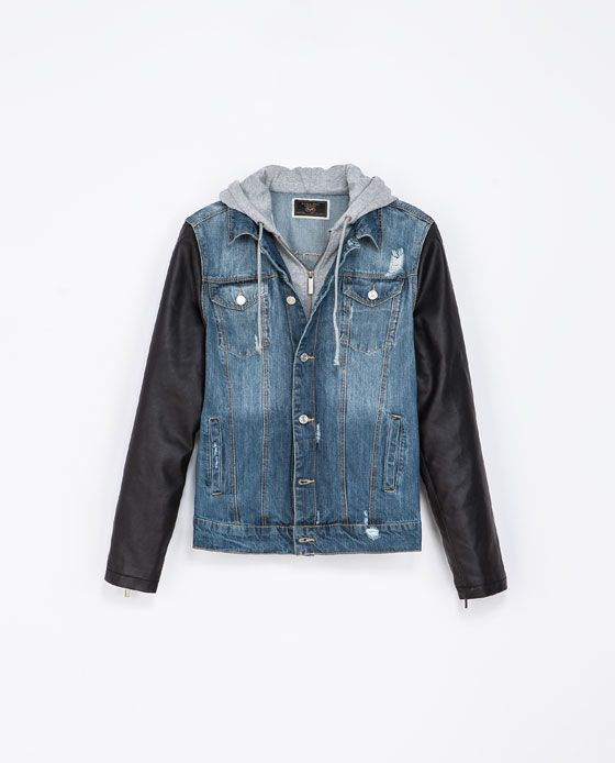 Denim Jacket With Faux Leather Sleeves Jackets Man Zara United