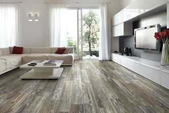 Hand Scraped Wood Look Plank Tile For Contemporary Living Room Design